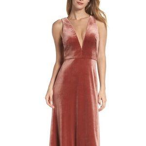 Jenny Yoo Plunging V Neck Velvet Gown